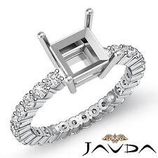 Diamond Engagement Eternity Style Ring Asscher Semi Mount Platinum 950 0.8Ct