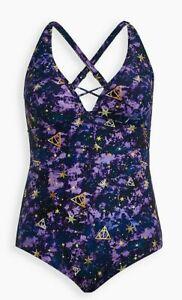 Torrid Harry Potter Galaxy Purple Swimsuit One Piece Wire Free Size 3 3X NWT