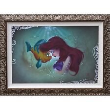 Disney Parks Little Mermaid Ariel and Flounder LE Framed Canvas Print Noah New
