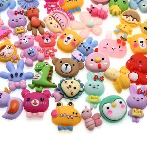 50pcs Mixed Matte Color Flatback Resin Assorted Cute Animals Cabochons Kid Craft