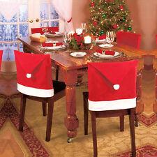 Santa Red Hat Chair Couvre Noël Décor à la maison Bureau Xmas Cap Parti Ornement