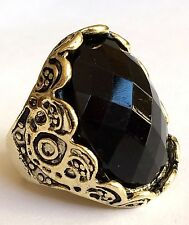 Antique Gold Plated Cocktail Ring Deco Simulated Onyx Black Cubic Zirconia 7.5