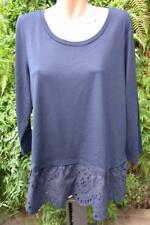 Sussan Navy Top Size XL Stylish Lacy Hem Trim Long Sleeve