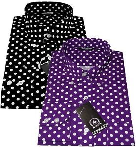 Relco Men's Black Purple Polka Dot Spotted Long Sleeve Button Down Collar Shirt