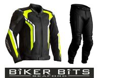 RST AXIS 2020 Black/Flo Yellow CE Men's Leather Budget Jacket & Trousers 2PC Set