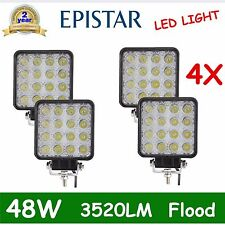 4PCS 48W Flood Lamp Led Work Light Boat Tractor Truck Offroad SUV 4WD 27W 3520LM