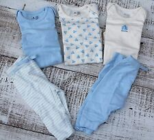 Baby GAP Girls Boys 6-12Mo 5Pc Short Sleeve Bodysuits Pants Cream White Blue NEW