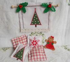 Puppenhaus Zubehör Weihnachtsdeko 6tlg Wandbehang zum Wenden 5 Kissen Handarbeit
