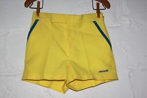 VTG Adidas Yellow & Blue Trefoil Logo Tennis Shorts Sz 28 NICE WOW