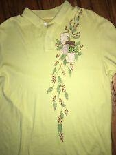 Vintage Nautica Avante-Garde Men's Sht Sleeve Polo L Embellished Chartreuse WOW!