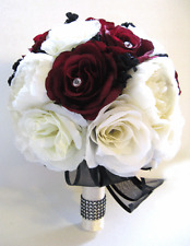 14 piece Wedding Bouquet Silk Flower Package Bridal BURGUNDY WINE BLACK WHITE