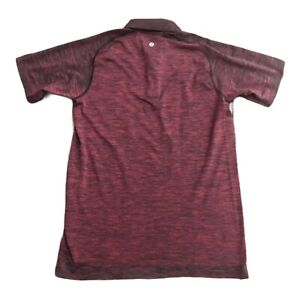 Lululemon Metal Vent Tech Polo Shirt Red Heather Black Men's Small