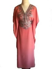 Coral Moroccan Abaya Kaftan Maxi Dress With Silver Embroidery Fits Up To 2XL