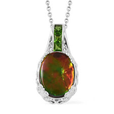 Canadian Ammolite, Russian Diopside Sterling Silver Pendant With Chain (18 in)