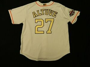 Official Jose Altuve Astros 2018 Ring Ceremony GOLD Cool Base Jersey XL