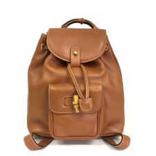 100% Authentic GUCCI Bamboo Handle Brown Leather Backpack /40189