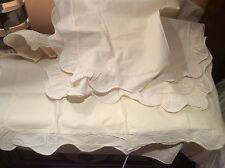 Yves Delorme France (4) Shams Flat Sheet Embroidery Scalloped Cotton