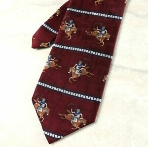 Red Rodeo Roping Cowboys Circle S Mens Silk Neck Tie New 24
