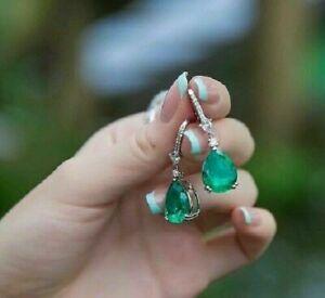 3Ct Pear Emerald & Diamond Drop Dangle Lever Back Earrings 14K White Gold Over