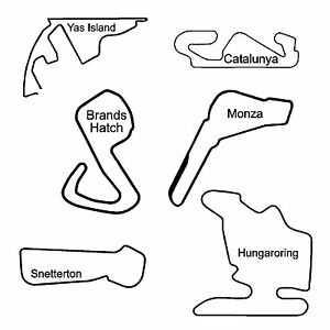 Formula 1 and Motor Race Track Decal Sticker - Various Colours - 50 Tracks