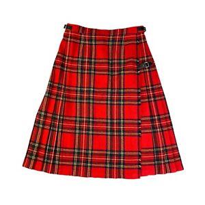 James Dalgliesh UK Vintage Red Tartan Plaid Wool Pleated Kilt Skirt Size 18