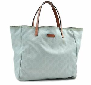 Authentic GUCCI Hand Tote Bag GG Nylon Leather 282439 Green Brown D9192