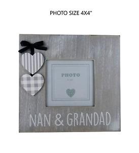 Photo Frame Nan & Grandad Grandparents Grey Rustic Christmas Birthday Gift