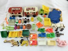 Vintage Fisher Price Little People Large Lot Figures Bus Accessories