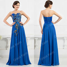 'Peacock Formal Evening Ball Gown Cocktail Party Bridesmaid Wedding Long Dress'