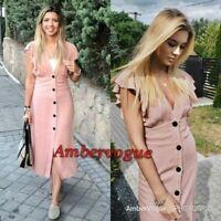 Zara Linen Midi Ruffles Dress size XS UK 6