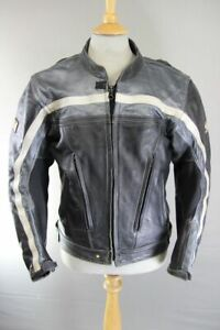 BELSTAFF BLACK & SILVER LEATHER BIKER JACKET WITH REMOVABLE CE ARMOUR 40 INCH