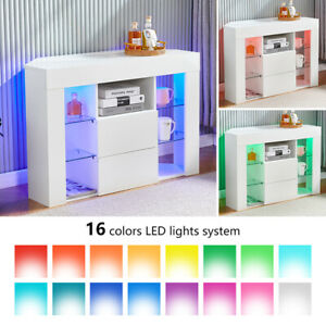 High Gloss Sideboard Cabinet Display Storage Cupboard with LED Lights White BN