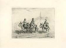 ANTIQUE WOMAN RIDING DONKEY DONKIES WITH BASKETS SIDE SADDLE ETCHING ART PRINT