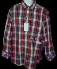 $398 Robert Graham Madras Plaid Check Pattern Shirt - Geometric Duo Cuffs L New