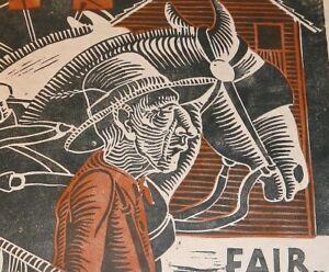 Jack Allen signed 6/8/65 block print matted Fair man mule horse team Americana