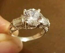 cz size 4.5 mint condition 14k white gold engagement/promess ring swiss