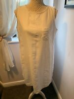 Womens White M&S Cotton Sleeveless Dress. Size 14 Used VGC
