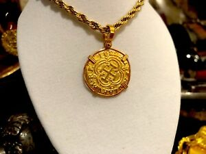 NECKLACE COLOMBIA 2 ESCUDOS 1622 ATOCHA PENDANT COIN JEWELRY TREASURE GOLD PLATE