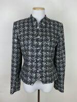 VTG 90s Metallic Silver Houndstooth Tweed Blazer 6 / S Gray Wool Blend Jacket