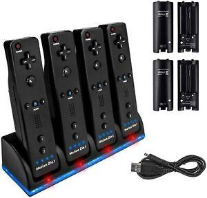 Charger Dock Station + 4 Battery Packs for Nintendo Wii Remote Controller Black