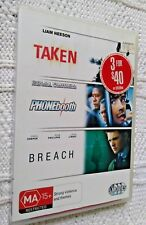 TAKEN / PHONE BOOTH / BREACH – DVD, 3-DISCS, R-4, LIKE NEW, FREE POST AUS-WIDE