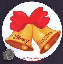 """LMH MAGNET Holiday  MERRY CHRISTMAS  Gold BELLS Christ Car Truck Refrigerator 5"""""""
