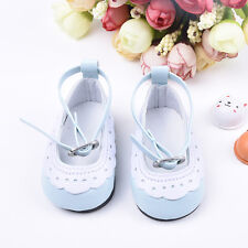 Blue&White Leather Ankle Belt Shoes For 18inch Girl Doll Party Toys