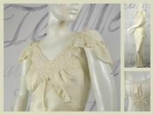 vintage 30's Art Deco Flapper bias cut ivory silky rayon satin nightgown lace