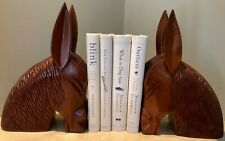 1950s Vintage Honduran Mahogany Hand-Carved Donkey Head Bookends Modern