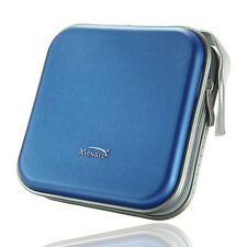 40 Disc Double-side CD DVD Storage Case Organizer Holder Hard Wallet Album Blue