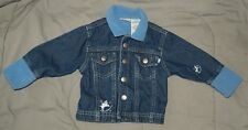 JEAN JACKET with Fleece Collar & Cuffs FADED GLORY Snaps 6-9 mos - VERY CUTE!