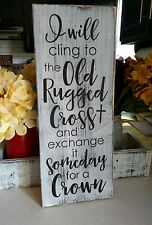farmhouse rustic wood sign OLD RUGGED CROSS religious​ inspirational wood sign