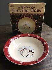 "ROYAL SEASONS~Snowmen~10"" Round~Vegetable~Serving Bowl~Christmas Tableware"