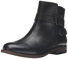 Franco Sarto Women's Harwick Black Leather Ankle Flat Boots